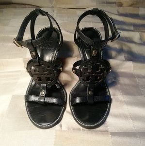 Tory Burch black wedge sandals size 7.5